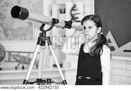 Astronaut Using Telescope. School Astronomy Lesson. Exploring Space Of New Galaxies. School Girl Loo