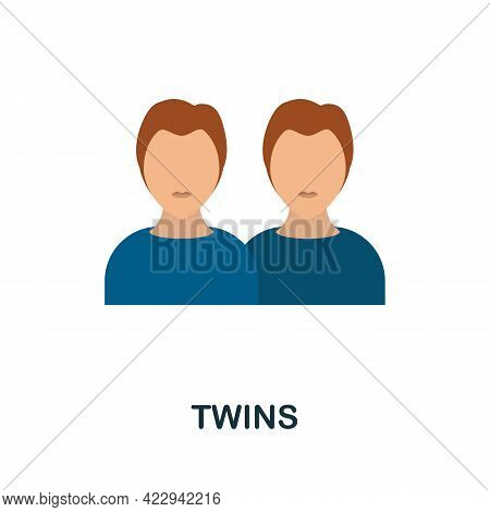Twins Icon. Flat Sign Element From Child Adoption Collection. Creative Twins Icon For Web Design, Te