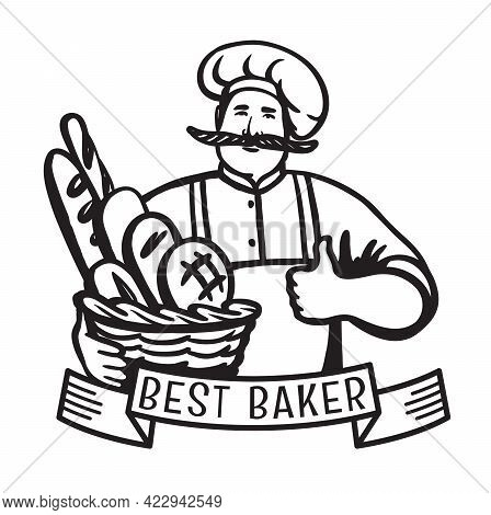 Baker Holds A Basket Of Pastries. Vector Logo On White Background