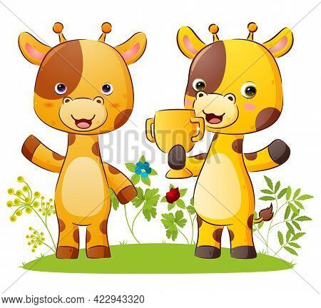 The Happy Couple Of Giraffe Is Holding A Golden Trophy With The Proud Expression Of The Illustration