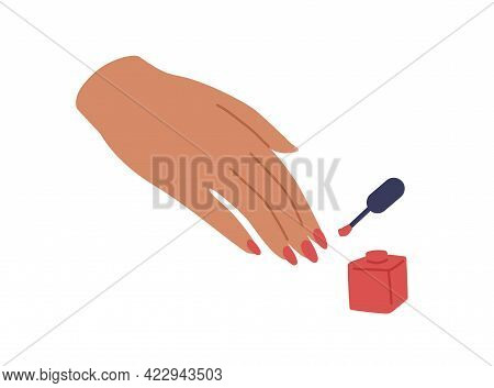 Female Hand With Red-painted Fingernails, Brush, And Open Bottle Of Nail Polish. Women Fingers With