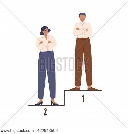 Man-winner And Woman Standing On Pedestal On 1st And 2nd Places. Concept Of Gender Inequality In Bus