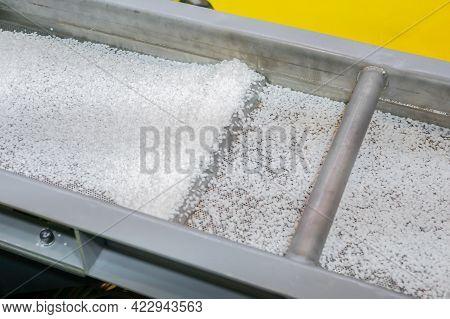 Propylene Or Polyethylene Pellets - Recycled Plastic Granules On Conveyor Belt, Shale Shaker Of Wast