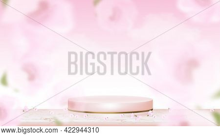 Podium Display With Spring Apple Blossom On Pink Studio Room Background,vector Realistic 3d Of Pink