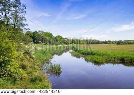 Drenste Aa River Flowing Through The Landscape Near Schipborg, Netherlands