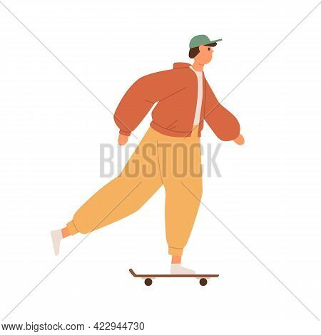 Young Man Riding Skateboard, Pushing With Foot. Cool Skater Guy On Skate Board. Modern Skateboarder