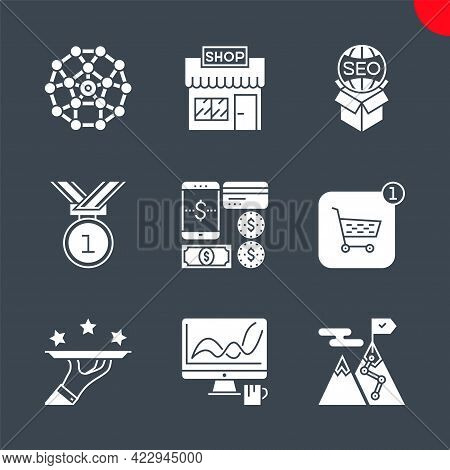 Seo Glyph Icons Set. Seo Related Vector Line Icons. Strategy For Victory, Dashboard, Premium Service
