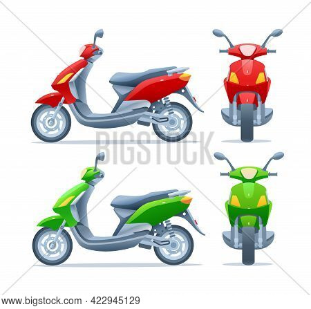 Red And Green Scooter, Two Views, Frontal And Side, Isolated On A White Background. Motorcycle Front