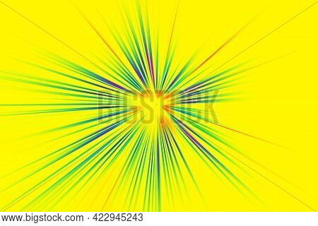 Abstract Surface Of A Radial Zoom Blur In Multicolored Tones On A Yellow  Background. Bright Colorfu