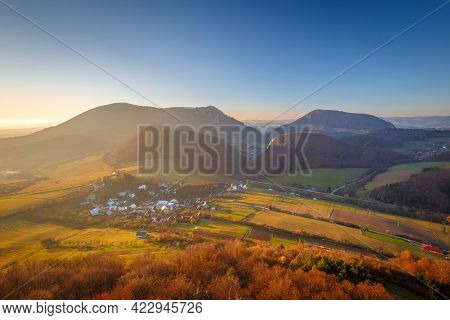 Mountainous Landscape In Autumn At Sunset. View From The Top Of The Bosmany Rocky Hill Above The Kos