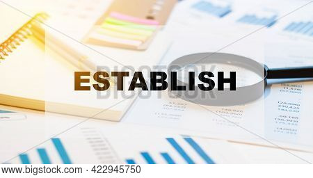 Establish. Financial Word Concept. Financial Background With Documents And Magnifying Glass