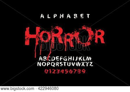 Horror Lettering In Scary Dripping Bloody Letters. Scary Font For Headline, Poster, Label. Spotted A