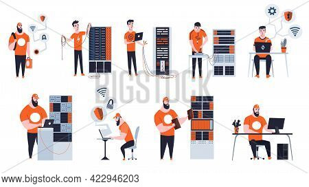 Male Sysadmin Work. Different Situations Of Maintaining Or Repairing Server. Maintaining Work, Repai