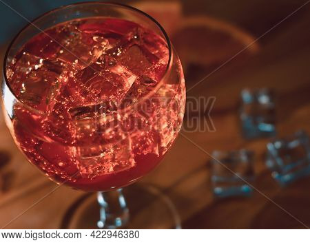 Italian Spritz Close Up On Wooden Table