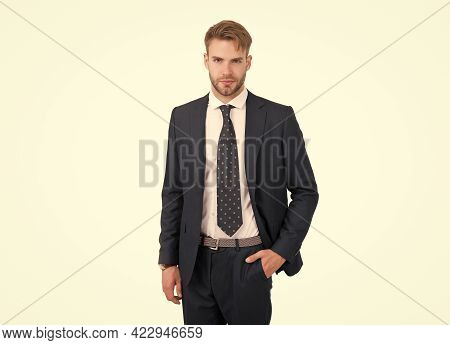 Successful Manager In Formalwear. Professional Businessman In Business Style. Motivation And Success