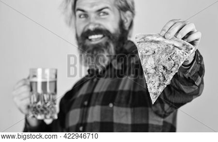 Watching Football On Tv. Fast Food. Happy Bearded Man With Beer And Pizza. Italian Food. Italy Is He