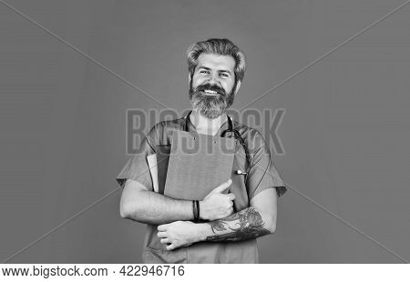 Man Bearded Handsome Doctor Work At Hospital. Hospital Admission. Health Care. Medical Treatment Con