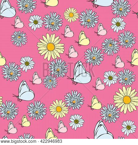 Vector Hot Pink Background Daisy Flowers, Wild Flowers And Butterflies, Insects. Seamless Pattern Ba