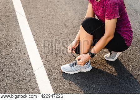 Woman Runner Having Stomach Cramps After Running Jogging