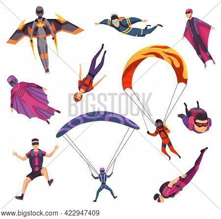 Skydiving Extreme Sport. Group Of Paraglide And Parachute Jumping Characters On White. Active Hobbie