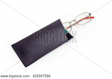 Modern Classic Eyeglasses For Men In Metal Rim Partly In Black Soft Leathern Spectacle-case On A Whi