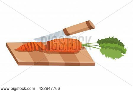 Sliced Vegetable. Slicing Carrot By Knife. Cutting On Wooden Board Isolated On White Background. Pre