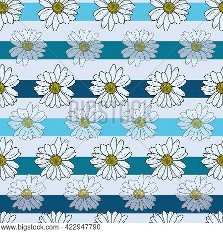 Vector Pastel Blue Background Daisy Flowers, Wild Flowers And Butterflies, Insects. Seamless Pattern