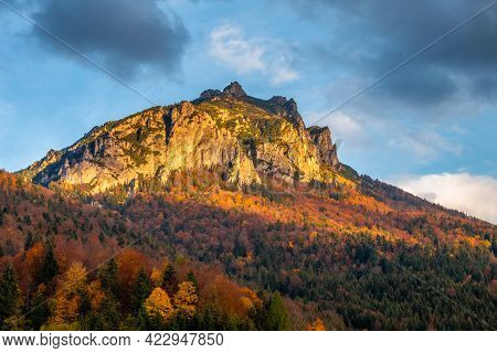 The Great Rozsutec Mountain Peak In An Autumn Landscape. The Vratna Valley In Mala Fatra National Pa