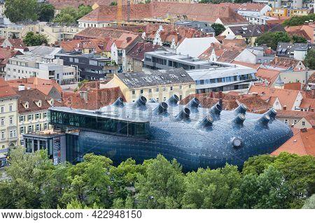 Graz, Austria - May 28 2019: Aerial View Of The Kunsthaus Graz, A Riverside Modern Art Museum In Amo