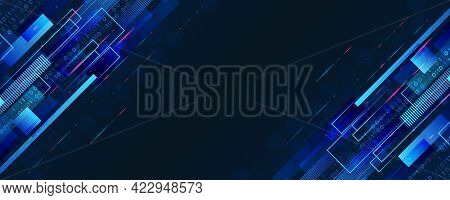 Wide Background With Various Technological Elements. Hi-tech Computer Digital Technology Concept. Ab