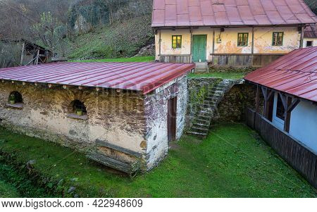 Old Houses In The Spania Dolina Village, Slovakia, Europe.