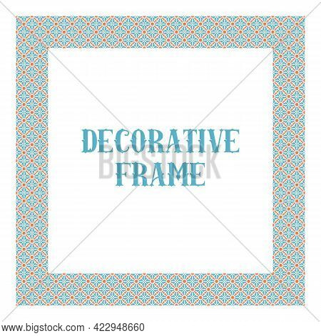 Oriental Ornamental Frame Isolated On White. Arabic Design For Page Decoration. Vector Frame Of Asia