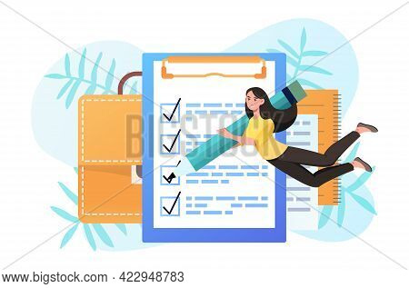 Young Smiling Female Character Is Planning Strategy On Clipboard. Concept Of Business Strategy Plani