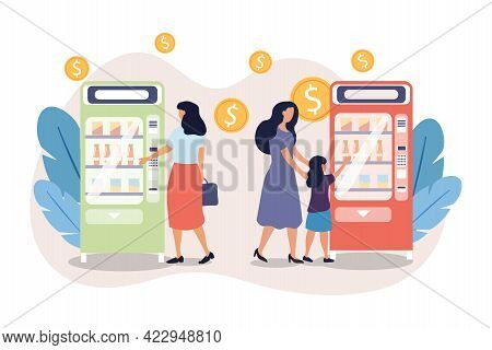 Female Consumers Buying Snacks And Drinks In Vending Machine Together. Concept Of Vending Machine Se