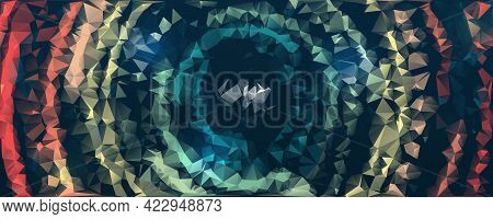 Colorful Triangular Banner Template. Polygonal Multicolor Mosaic Background.