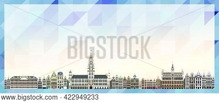 Brussels Skyline Vector Colorful Poster On Beautiful Background
