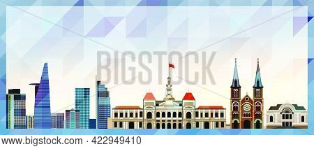 Ho Chi Minh City Skyline Vector Colorful Poster On Beautiful Background
