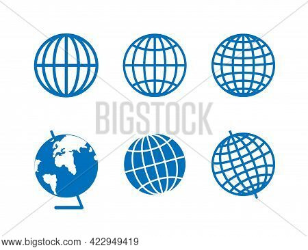 Set Blue Icons For The Globe Of The Planet Earth. Parallels And Meridians On Blue Icon.