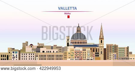 Valletta Skyline Vector Colorful Poster On Beautiful Background