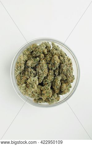 Marijuana Product, Trimmed Buds In A Jar. Medicinal Cannabis Stuff On White Background, Isolated, To