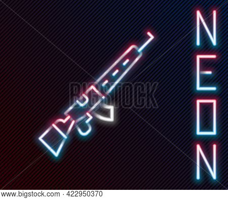 Glowing Neon Line Sniper Rifle With Scope Icon Isolated On Black Background. Colorful Outline Concep