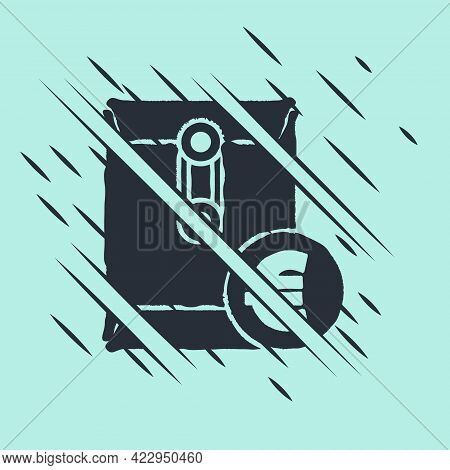 Black Envelope With Euro Symbol Icon Isolated On Green Background. Salary Increase, Money Payroll, C