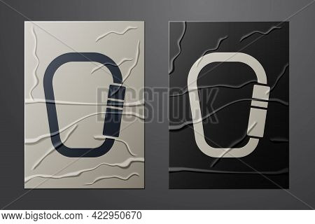 White Carabiner Icon Isolated On Crumpled Paper Background. Extreme Sport. Sport Equipment. Paper Ar