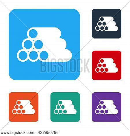 White Wooden Logs Icon Isolated On White Background. Stack Of Firewood. Set Icons In Color Square Bu