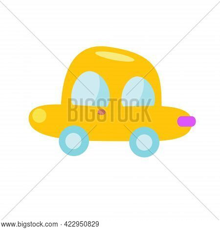 Yellow Car. Toy For Toddlers. Isolated Clip Art For Kids