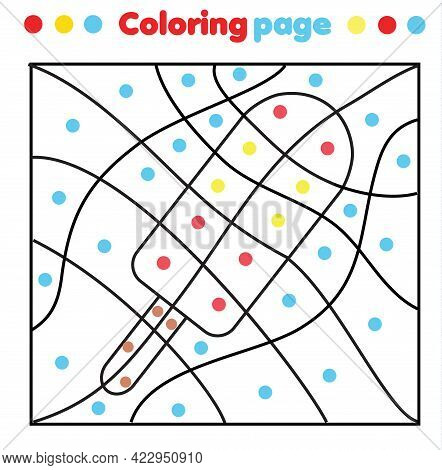 Ice Cream Coloring Page. Color By Dots, Printable Activity. Worksheet For Toddlers And Pre School Ag