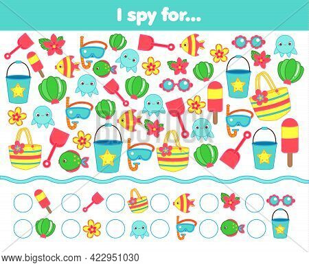 I Spy Game. Find And Count Summertime Beach Objects. Summer Holidays Activity For Kids, Toddlers, Ch