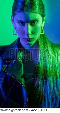 Neon Light People. Cyberpunk Portrait. Sci-fi Character. Apocalypse Survivor. Green Blue Color Glow