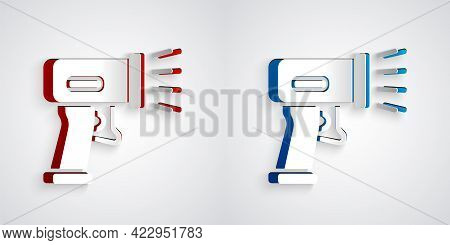 Paper Cut Scanner Scanning Bar Code Icon Isolated On Grey Background. Barcode Label Sticker. Identif