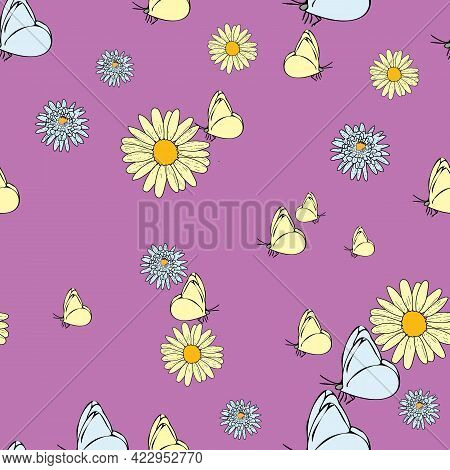 Vector Pastel Pink Peach Background Daisy Flowers, Wild Flowers And Butterflies, Insects. Seamless P